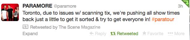 Paramore ticket problems Toronto